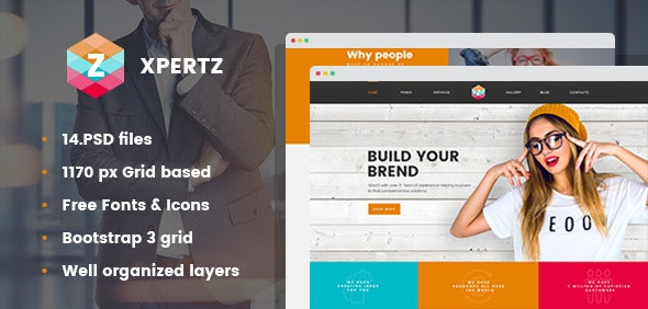 XpertZ - Corporate & Business Company PSD Template - Corporate Photoshop