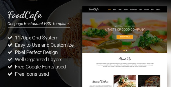 FoodCafe - Onepage Restaurant PSD Template - Business Corporate