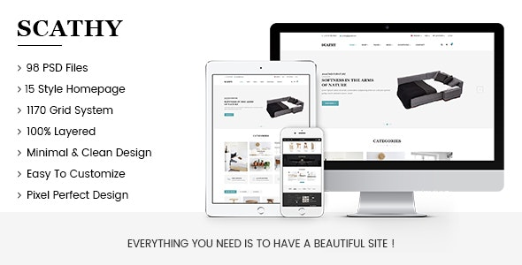 Scathy - Minimalist eCommerce PSD Template - Shopping Retail