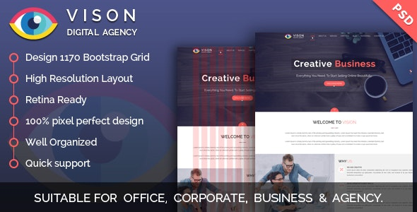 Vision Digital Agency – Multipurpose One Page PSD Template - Business Corporate