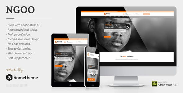 Download NGOO - Charity, Non-profit, and Fundraising Muse Template