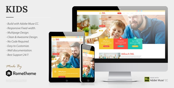 KIDS - Kindergarten and Child Care Muse Templates - Corporate Muse Templates
