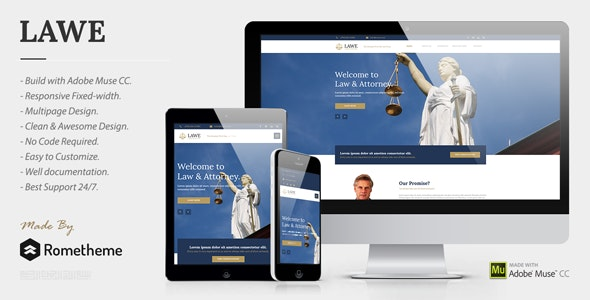 LAWE - Lawyer and Attorney Muse Template - Corporate Muse Templates