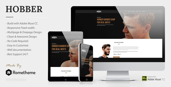 Hobber - Barbershop, Hair & Salon Muse Template - Miscellaneous Muse Templates