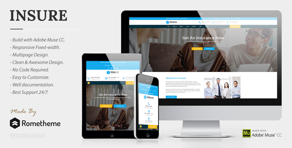 Insure - Insurance, Finance, & Business Muse Template - Corporate Muse Templates
