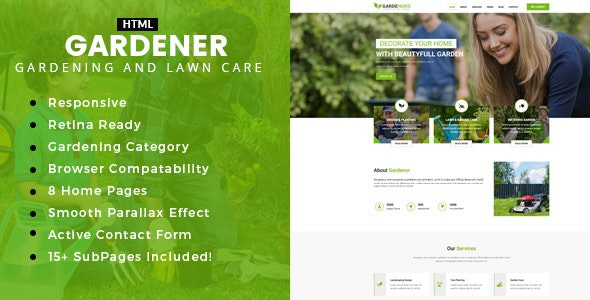 Gardening - Lawn and Landscaping HTML Template - Business Corporate