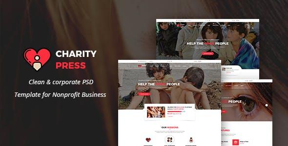 Charity Press - Non-Profit & Crowdfunding PSD Template