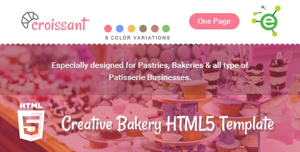 Croissant - Creative Bakery and Pastry Business One Page HTML5 Template - Food Retail