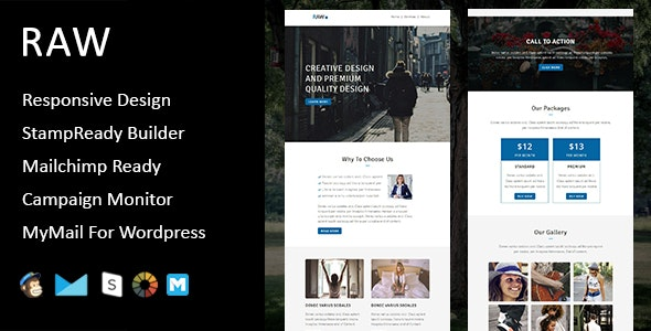 Raw - Multipurpose Responsive Email Template + Stampready Builder - Email Templates Marketing