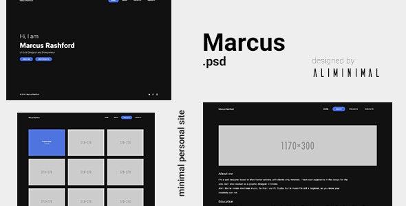 Marcus - Minimal vCard PSD Template - Virtual Business Card Personal