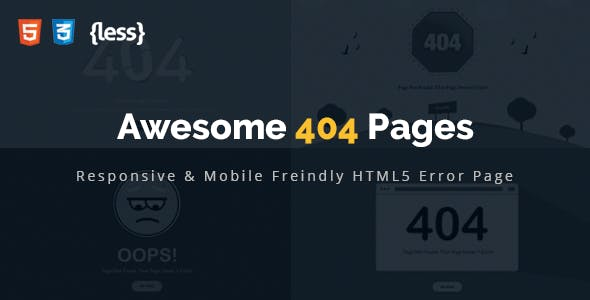 Awesome 404 Error HTML Template