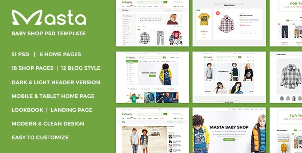 Masta – Baby Shop eCommerce PSD Responsive - Fashion Retail