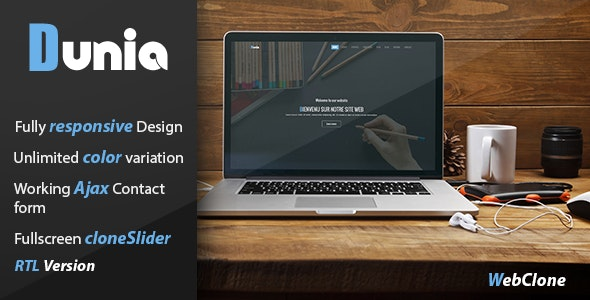 Dunia - Creative One Page Responsive HTML5 Template Plus RTL Version - Corporate Site Templates