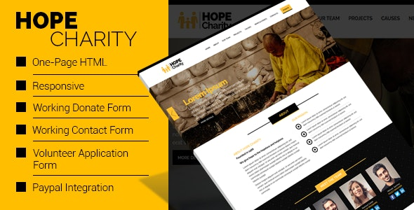 Hope Charity - One-Page Non Profit Website Template HTML - Charity Nonprofit