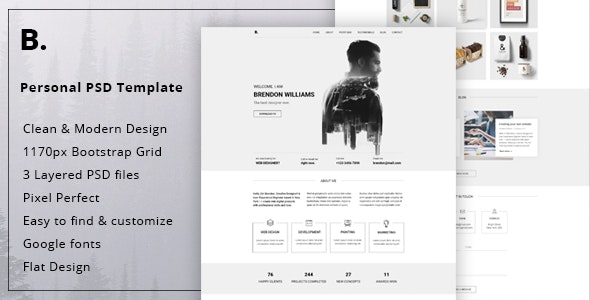 Brendon - Minimal Personal Blog Portfolio PSD Template - Virtual Business Card Personal