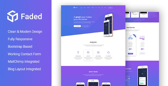 Faded - Creative App Landing Page Template With Blog + RTL - Site Templates