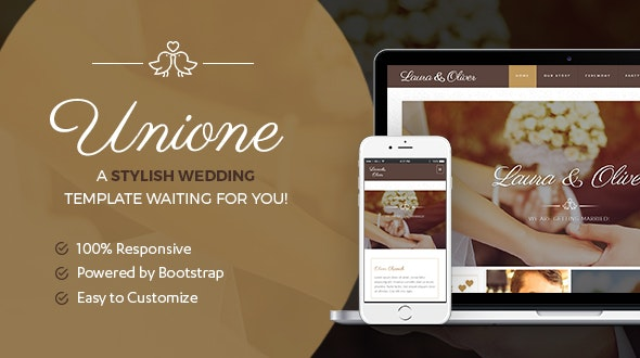 Unione Wedding | A Bride and Groom template - Wedding Site Templates