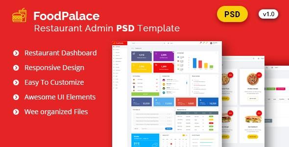 Admin FoodPalace - Dashboard Psd Template - Corporate Photoshop