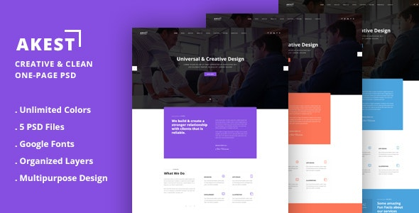 Akest - Creative & Clean One-Page PSD - Photoshop UI Templates