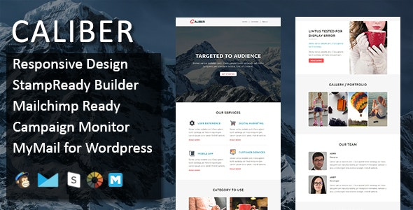 CALIBER - Multipurpose Responsive Email Template with Stamp Ready Builder Access - Email Templates Marketing