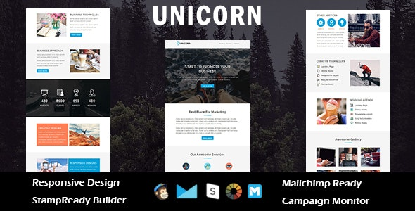 UNICORN - Multipurpose Responsive Email Template + Stampready Builder - Email Templates Marketing