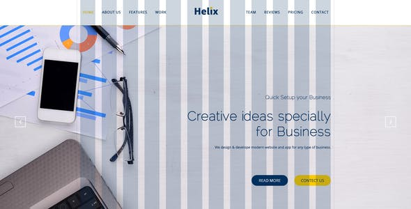 Helix - One Page Corporate, Multipurpose Business PSD Template for Professionals