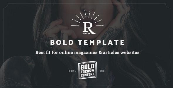 Regular - Bold Content Blog & Online Magazine Website Template - Entertainment Site Templates