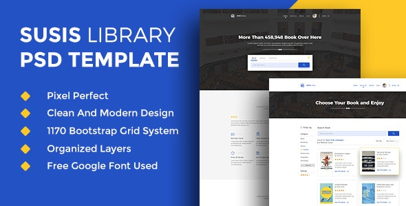 Susis Library PSD Template - Photoshop UI Templates