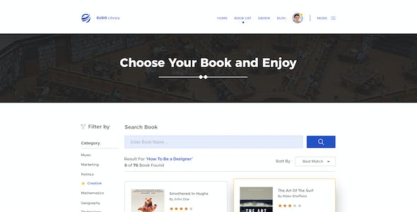 Susis Library PSD Template