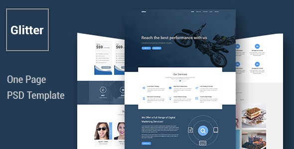 Glitter - One Page Multipurpose Business PSD Template - Business Corporate