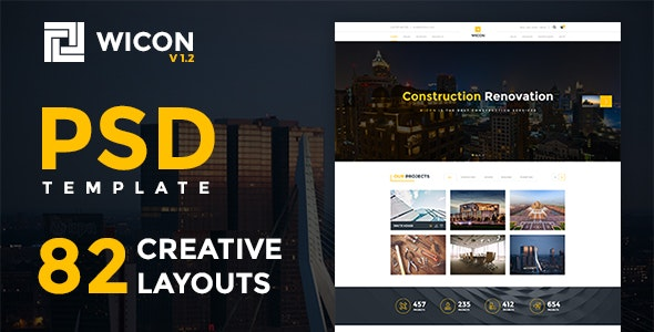 WICON | Construction & Building PSD - Corporate PSD Templates