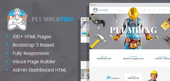 PlumberPro - Handyman Home Repair & Maintenance Service HTML Template with Visual Page Builder - Business Corporate