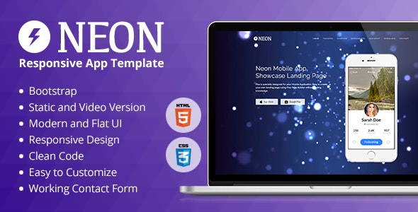 Neon Responsive App Landing Page - Apps Technology