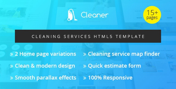Cleaner — Cleaning Services HTML5 Template - Business Corporate