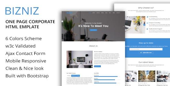 BIZNIZ - One Page Corporate HTML Template