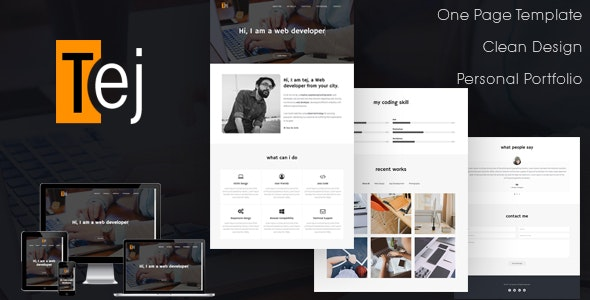 Tej | One Page Personal Portfolio HTML Template - Personal Site Templates