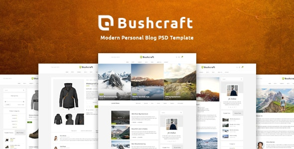 Bushcraft - Personal Blog Template - Personal Photoshop