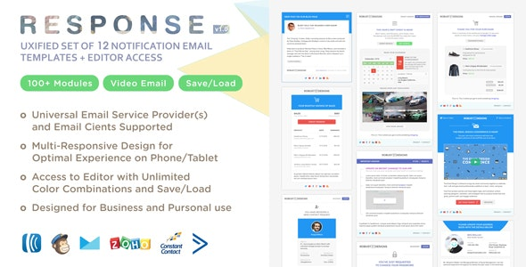 Response - UXified Set of 12 Notification Email Templates + Online Editor - Newsletters Email Templates