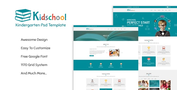 Kidschool - Kindergarten School PSD Template - Nonprofit Photoshop
