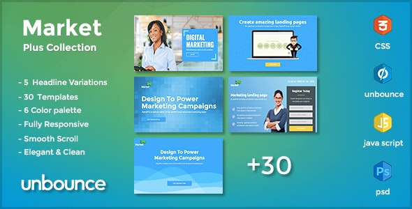 MarketPlus - Marketing Unbounce Landing Page Pack - Unbounce Landing Pages Marketing