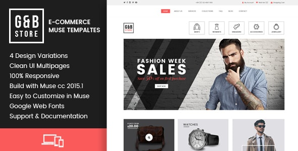 Gb Store E Commerce Muse Templates By Goaldesigns Themeforest