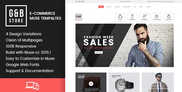 GB STORE - E-Commerce Muse Templates