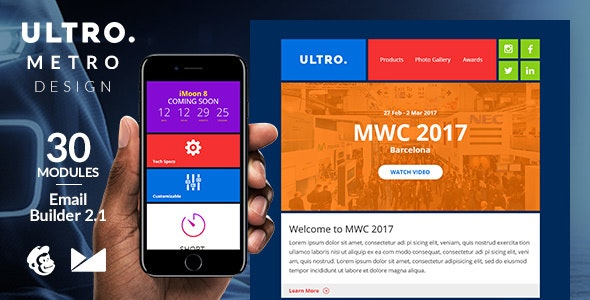 Ultro Email Template + Online Emailbuilder 2.1 - Newsletters Email Templates