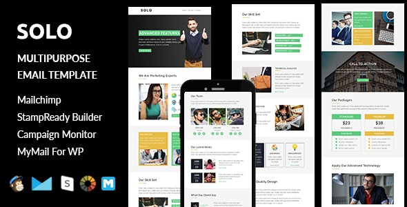 Solo - Multipurpose Responsive Email Template + Stampready Builder - Email Templates Marketing