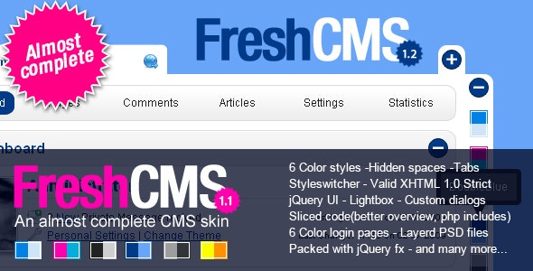 FreshCMS an almost complete CMS skin - Admin Templates Site Templates