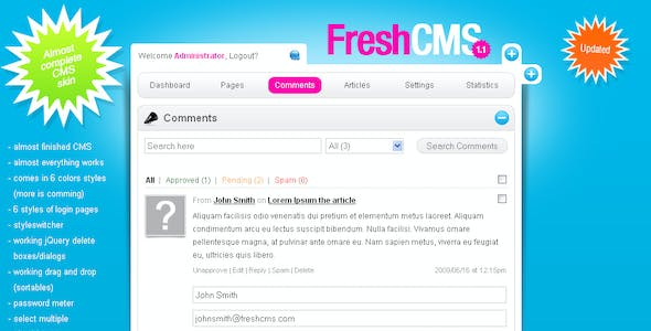 FreshCMS an almost complete CMS skin