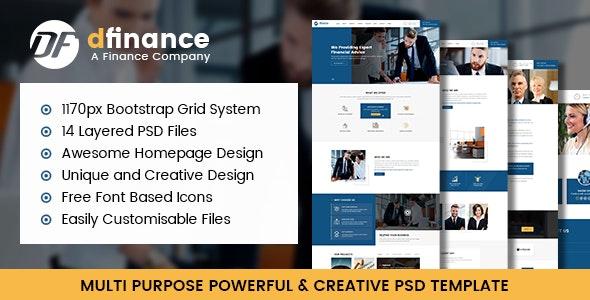 dFinance- Multipurpose PSD Template - Corporate Photoshop