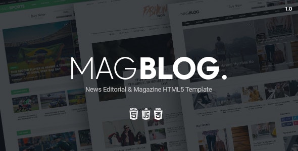 MagBlog - News Editorial & Magazine HTML5 Template - Retail Site Templates