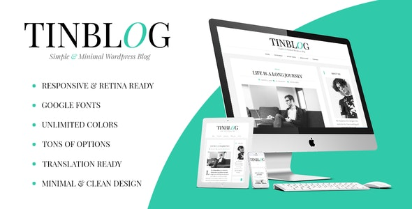 Tinblog - Minimal WordPress Blog Theme - Personal Blog / Magazine