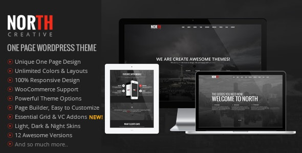 North - One Page Parallax WordPress Theme - Creative WordPress